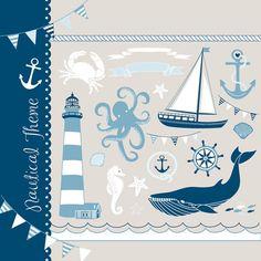Cute Handdrawn Meer Clipart Satz! Der Sommer ist da!!!  Handgezeichnete nautische Kritzeleien sind Spaß und einzigartige) ein Boot, ein Leuchtturm, ein Wal, eine Krabbe, Seepferdchen, Segeln Rad, Anker, Fahnen, ein Oktopus, Muscheln, ein Segelschiff, Fisch, Bunting, Seile und Wellen - alles, was Sie für ein Motto Meer-Projekt brauchen!  Dieses digitale Blatt ist ideal für Hochzeitseinladungen, Partei-Markierungen, Einladungen, Cupcake Toppers, Schrott Buchung und vieles mehr!  Perfekt für…