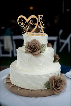 God Gave Me You CakeTopper Rustic Wedding Cake by Customorderhouse