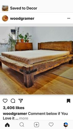 I like the wood on this bed and the little bit of hardware. – – DIY Furniture Tutorials Ideen I like the wood on this bed and the little bit of hardware. – I like the wood on this bed and the little bit of hardware. Full Bed Frame, Diy Bed Frame, Cama Tatami, Rustic Furniture, Furniture Design, Diy Furniture Tutorials, Rustic Bedding, Wood Beds, Bed Design