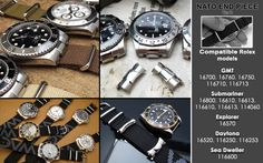 Solid NATO End Link custom made for Rolex models : GMT, Submariner, Explorer, Daytona + Set of Two NATO straps, Brush [NEP2-NATOB-XX]