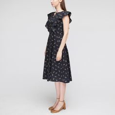 petiteWomen's Printed Short Sleeve Ruffle Wrap Mini Dress - Éclair Navy/White S, Size: Small, Black Plus Size Lace Dress, Plus Size Cocktail Dresses, Plus Size Dresses, Dresses For Sale, Navy Mini Dresses, Different Dresses, Occasion Dresses, Pattern Fashion, Navy And White
