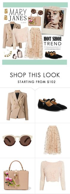 """Sweet Mary Janes"" by gabree ❤ liked on Polyvore featuring Garance Doré, Polaroid, Balmain, The Row, Illesteva, Valentino, Dolce&Gabbana, Coast, Marte Frisnes and shoes"