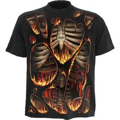 Graphic mens t-shirt by goth clothing designers Spiral Direct (from the UK), printed with a burning fabric design, revealing a human skeleton ribcage underneath.