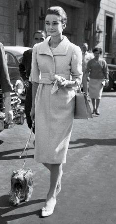 Audrey Hepburn | wearing ensemble: Givenchy. shoes: Roger Vivier for Christian Dior | 1959