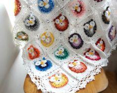 colcha buho a crochet - Buscar con Google