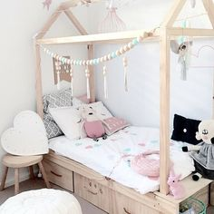 little girls room -- kids house bed with storage drawers underneath and a wood bead garland via mintinteriordesign Wooden Toddler Bed, Toddler House Bed, House Beds For Kids, Diy Toddler Bed, Kid Beds, Girls Bed With Storage, Bed Storage, Storage Drawers, Bed With Drawers Underneath
