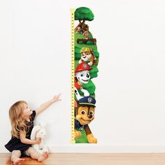 PAW Patrol™ Personalized Growth Chart Decals for kids bedroom walls and playrooms