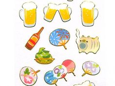 Japanese Stickers Summer Fans Beer S133 by FromJapanWithLove