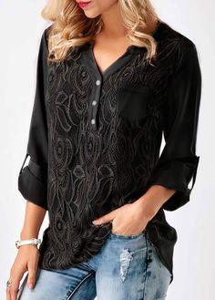 Black Roll Tab Sleeve Lace Panel Blouse