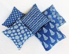 5 Pcs MIX Lot Indigo Blue Dabu Hand Block Print Cushion Cover Pillow Case 16x16 Cushions, Pillows, Decorative Throws, Indigo Blue, Shibori, Tie Dye, Pillow Covers, Crafts, Stuff To Buy