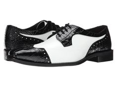 Vintage inspired mens black and whites shoes. Stacy Adams - Galletti BlackWhite Mens Lace Up Wing Tip Shoes $90.00 AT vintagedancer.com