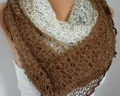FREE SHIPPING  -  Knitting  White and Light Blue Cowl  Cable Scarf  Neckwarmer wool Gift for  Her  Winter Accessories  Christmas. $32.00, via Etsy.