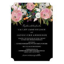 Peach Pink Black Floral & Stripe Wedding Invite