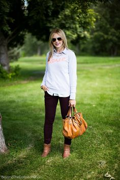 Casual : Statement necklace+ button down+ short boots