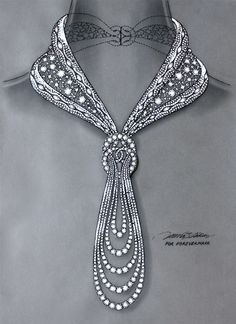 Original hand-drawn blueprint for Eternal diamond necklace for Forevermark by © Reena Ahluwalia