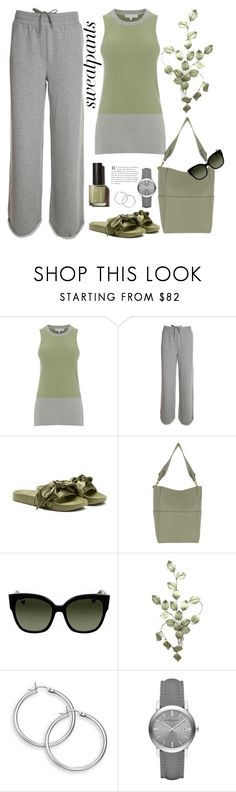 """Comfort"" by terry-tlc ❤ liked on Polyvore featuring T By Alexander Wang, Puma, CÉLINE, Gucci, Burberry, sweatpants, fashionset and polyvoreeditorial"