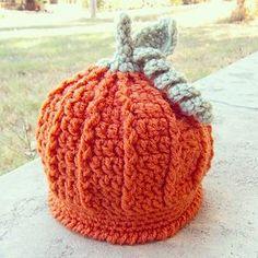 Crocheted Pumpkin Beanie by louellaa