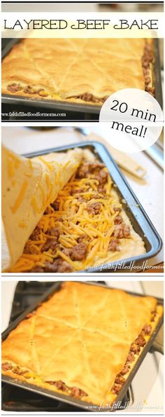 Beef Bake This 20 minute layered beef bake is so easy to make! Super kid friendly made with simple ingredients!This 20 minute layered beef bake is so easy to make! Super kid friendly made with simple ingredients! Meat Recipes, Mexican Food Recipes, Cooking Recipes, Hamburger Recipes, Easy Cooking, Yummy Recipes, Healthy Recipes, Cooking Oil, Simple Recipes