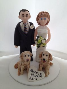Custom Bride and Groom with Pets Wedding Cake Topper via Etsy