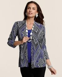 Travelers Collection Mixed Scarf Pleated Jacket