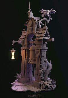 Bell Tower sculpt I worked on for a week. Concept by Peet Cooper for Riot Games. 3d Fantasy, Fantasy House, Environment Concept Art, Environment Design, Prop Design, Game Design, The Last Summer, 2d Game Art, 3d Mesh
