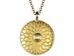 Me and Ro Me 18K Gold Medium Lotus Mandala Amulet with Indian Diamond