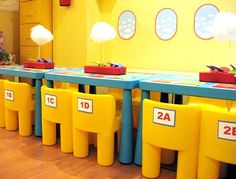 Cute classroom ideas - seat labels and the airplane windows