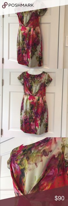 """L.K. BENNETT STUNNING WATERCOLOR PRINT DRESS 8 LIKE NEW WITHOUT TAG. SIZE 8. The most gorgeous softest classy dress. Multi color short sleeve pencil dress. Measurements are: Flat Arm Pit-Arm Pit 18"""". 35.5"""" long and hips laying flat 19.5. LK Bennett Dresses Midi"""