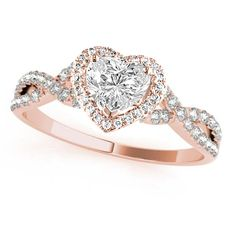 Rose Shaped Engagement Ring, Heart Diamond Engagement Ring, Cute Engagement Rings, Heart Shaped Diamond Ring, Unique Diamond Rings, Heart Shaped Rings, Engagement Ring Shapes, Wedding Rings Rose Gold, Pretty Wedding Rings