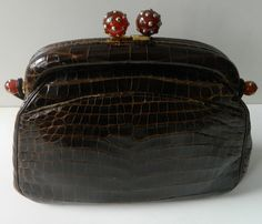 Gorgeous Brown Vintage Aligator Handbag from Sacha with Lucite Hardware
