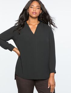 Plus Size Work Tops: Office Ready Blouses Plus Size Designers, How To Roll Sleeves, Plus Size Tops, Timeless Fashion, Plus Size Outfits, High Low, Trending Outfits, Tunic, Style Inspiration