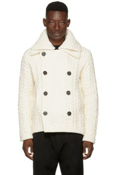 BURBERRY Long sleeve cable knit cotton-blend cardigan in 'natural' white. Funnel neck collar. Double-breasted button closure at front. Welt pockets at waist. Rib knit cuffs and hem. Tonal stitching.