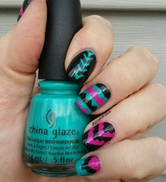 Tribal print using China Glaze Turned Up Turquoise,  Purple Panic and Zoya Dovima