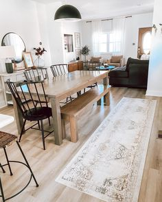 Designed by @thedelightedhome Dining Table, House Interior, Furniture, Table, Home, Interior, Area Rugs, White Charcoal, Home Decor
