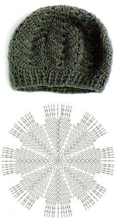 Зимний берет из восьми клиньев, схема, вязание крючком