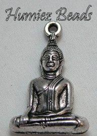 02305 Hanger Boeddha Antiek zilver (Nickel vrij) 35mmx23mm