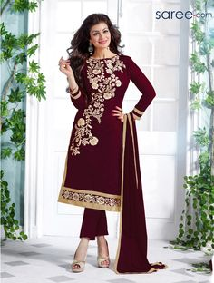BROWN GEORGETTE SUIT WITH EMBROIDERY WORK