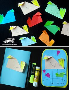 How to make easy paper birds Summer Art Projects, Spring Crafts For Kids, Art For Kids, Diy Fashion Decor, Bird Crafts, Paper Crafts, Paper Birds, Crafty Kids, Paper Toys