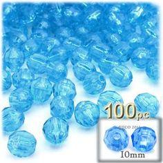 Plastic Faceted Beads, Round Transparent, 10mm, 100-pc, Aqua