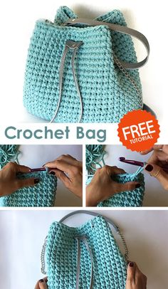 Crochet Bag / Sack - Crochet market bag free pattern - Crochet Bag / Sack Learn how to crochet this bag with free tutorial. Crochet Backpack, Crochet Tote, Crochet Handbags, Crochet Purses, Easy Crochet, Knit Crochet, Tutorial Crochet, Crochet Bag Tutorials, Sewing Tutorials