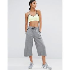 Nike Premium Culotte Pants (£76) ❤ liked on Polyvore featuring pants, grey, cotton pants, grey pants, tall pants, wide-leg trousers and high-waist trousers