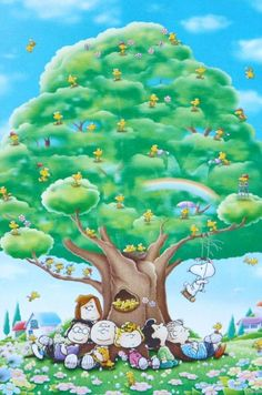 Looks like SPRING and Charlie Brown gang under a big beautiful tree.