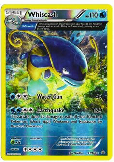 Rare Whiscash reverse holographic card, in near mint condition! Comes with a…