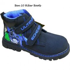Ben 10 Boots with hard grip non slip soles. These Ben 10 Boots has double velcro fastenings with ultimate force written on both of them and a great picture of Ben 10 on the side. Blue in colour. Great boots for your Ben 10 fan. Available in sizes 8, 9, 10, 11, 12, 13 and 1.