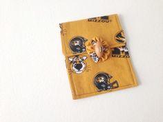 Mini Purse, University of MO, Missouri fabric, Univ of Missouri,  Cosmetic Bag, Hand Made, MU Tigers, Tiger logo
