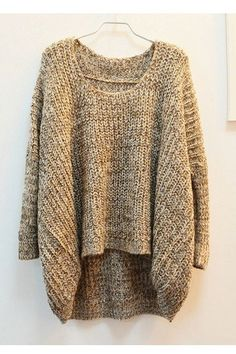 Grey Long Sleeve Cable Knit Loose Sweater -SheIn(Sheinside) Mobile ...