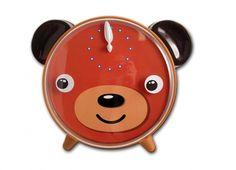 OROLOGIO TAVOLO ORSO OCCHI MOVIMENTO. Orologio da tavolo con faccia da orso con quadro di colore arancione e occhi che si muovono allo scatto di ogni minuto, funziona con pile non incluse