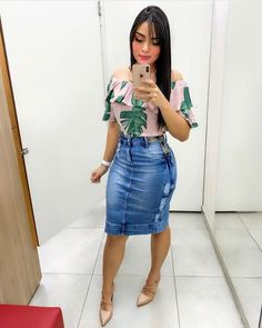 Image may contain: 1 person, standing Cute Casual Outfits, Cute Summer Outfits, Girly Outfits, Modest Outfits, Denim Skirt Outfits, Latest African Fashion Dresses, Modest Wear, Church Outfits, Clothes For Women