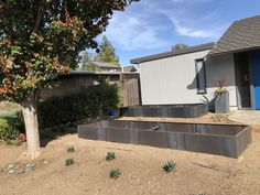 Expandable modular corten steel garden bed design that can be assembled into extra-long continues gardens.  In the picture you can see two long garden beds assembled from 4 ft sections, in the forefront 16 feet long garden bed and a 12 foot long garden bed in the background.  This a great and easy way to create a custom corten steel garden at an affordable price and minimum installation time. Custom Metal Fabrication, Planter Beds, Corten Steel Planters, Bed Design, Garden Beds, Garden Tools, Backyard, Landscape, Outdoor Ideas