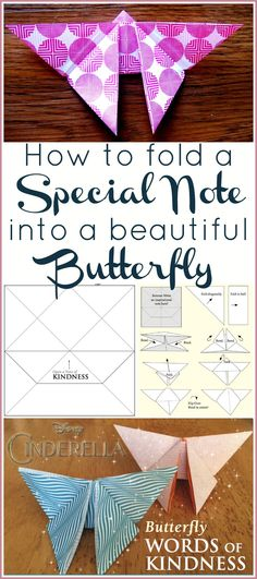 How to make an origami butterfly note. It's an easy craft idea for kids or adults that shows someone how much you care. Check out the tutorial!